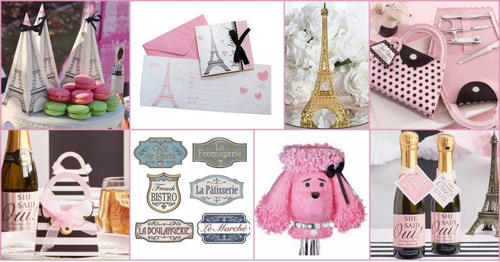 Parisian Chic Bridal Shower Theme Favor, Supply, and Decor Ideas