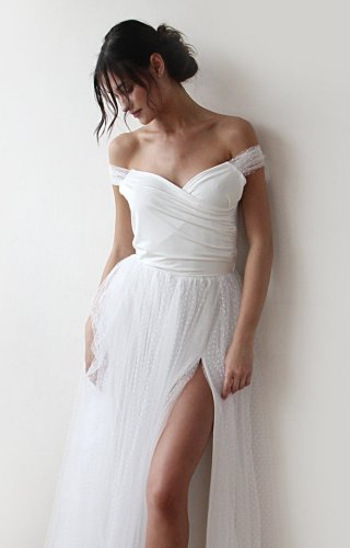 Off-The-Shoulder Wrap Style Wedding Dress