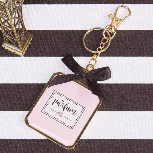 Parisian Chic Bridal Shower Theme Perfume Key Chain Mirror Favors