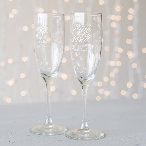 Winter Themed Wedding Personalized Toasting Flute Favors