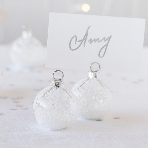 Winter Themed Wedding Falling Snow Ornament Place Card Holder Favors