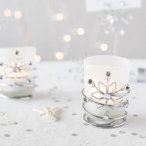 Winter Themed Wedding Theme Jeweled Snowflake Votive Holders