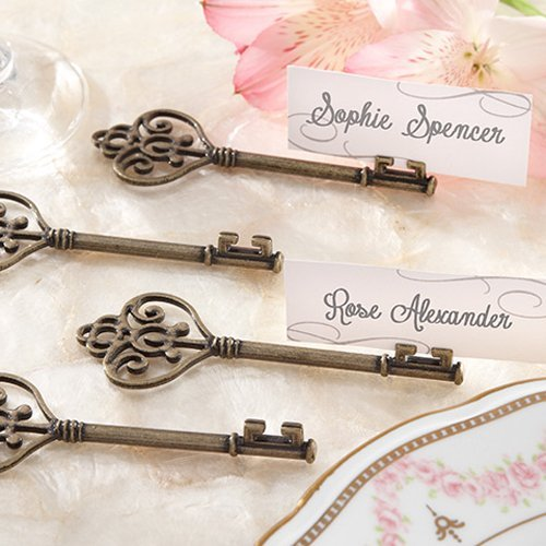 Multi-Function Wedding Favors - Vintage Heart Shaped Key Place Card Holders
