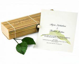 Asian Themed Shower Invitation In Bamboo Box