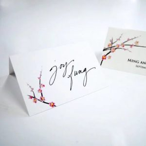 Asian Themed Wedding and Bridal Shower Cherry Blossom Place Cards