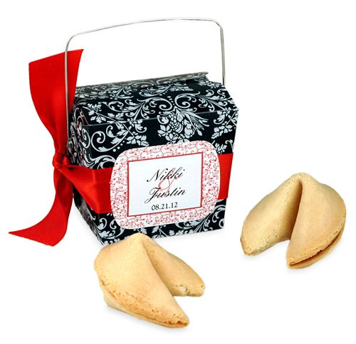 Damask Chinese Fortune Cookies Takeout Favor Boxes