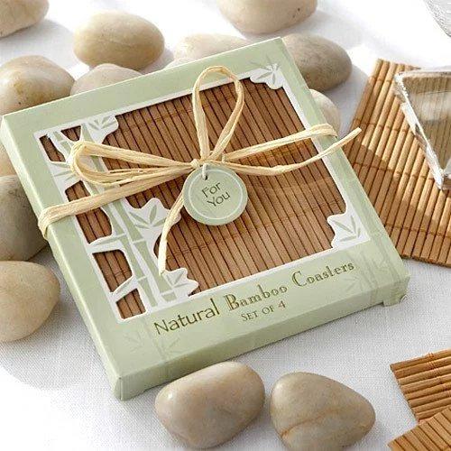 Eco Friendly Natural Bamboo Coaster Favors