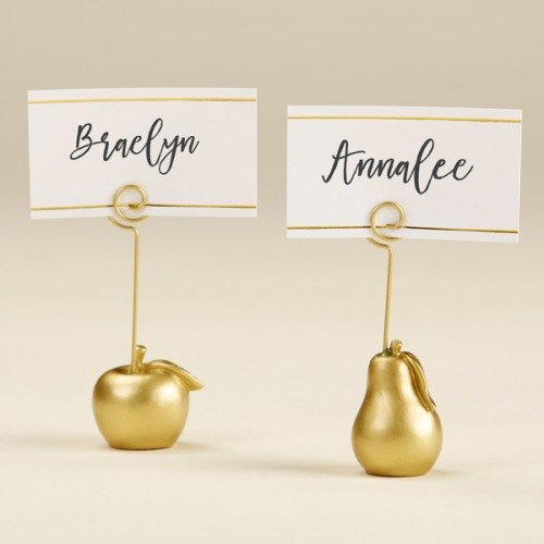Gold Apple and Pear Place Card Holders