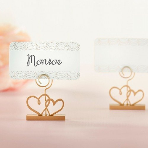 Gold Double Heart Place Card Holders