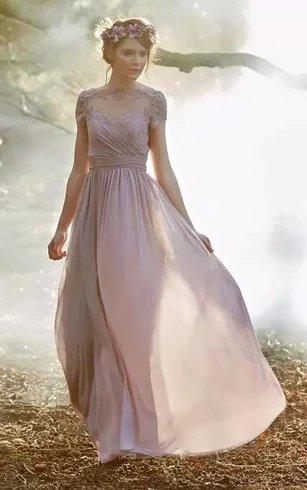 Enchanted Garden Wedding Theme Floor Length Bridesmaid Dress