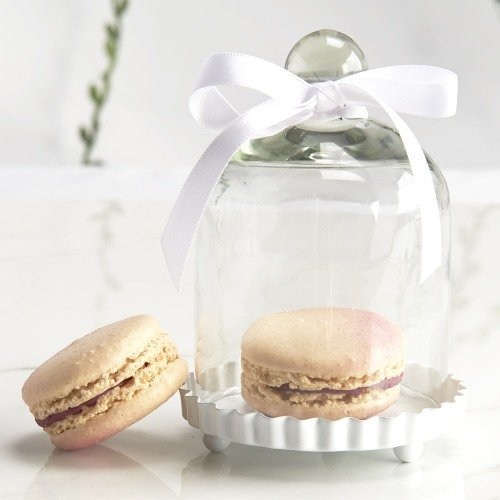 Multi-Function Wedding Favor -Miniature Glass Bell Jar with White Fluted Base
