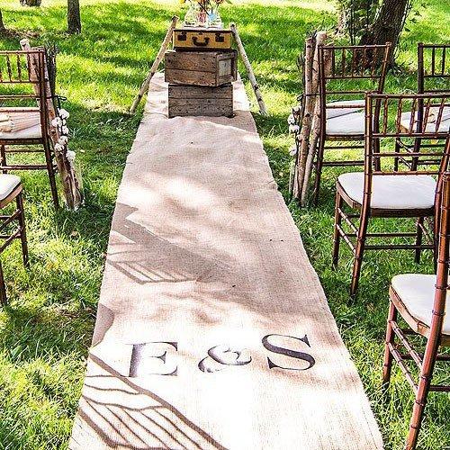Enchanted Garden Wedding Theme Personalized Burlap Aisle Runner With Monogram