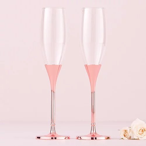 Personalized Rose Gold Toasting Flutes