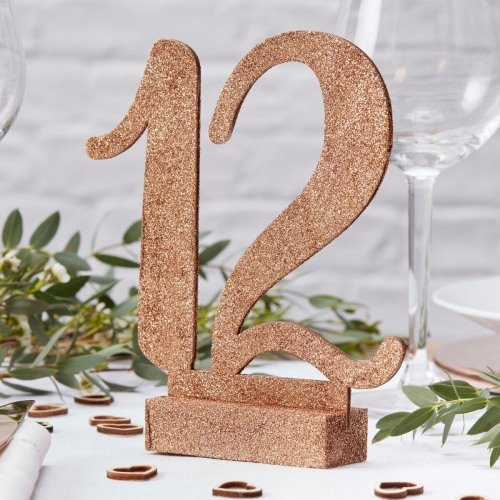 Rose Gold Glitter Wooden Table Number