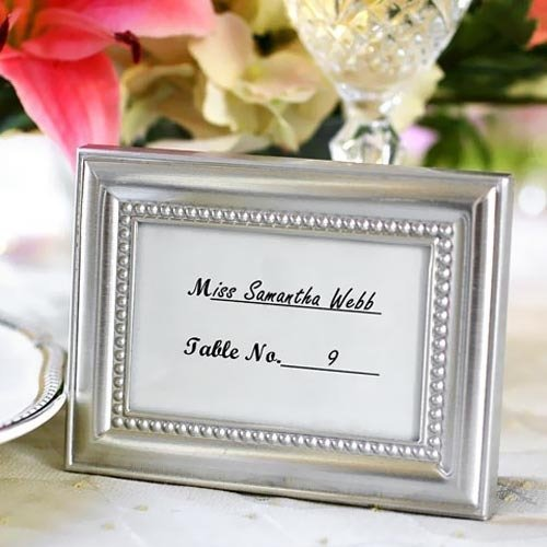 Silver Beaded Picture Frame Favor