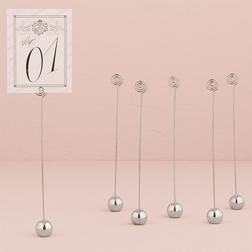 Silver Classic Round Tall Place Card Holders