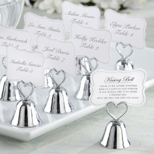 Silver Wedding Bell Place Card Holders