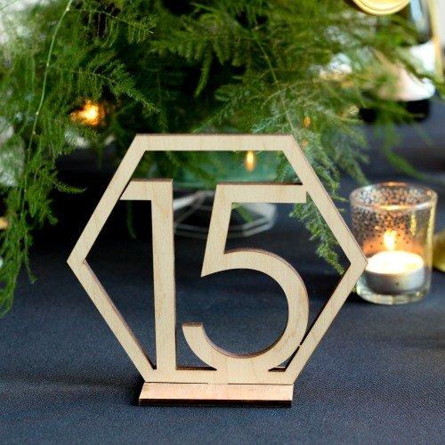 Wood Geometric Table Number