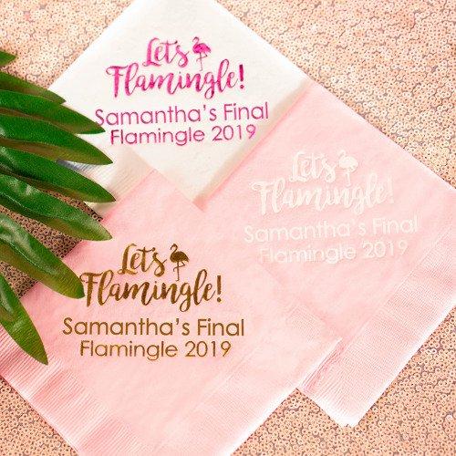 Let's Flamingle Personalized Paper Napkins