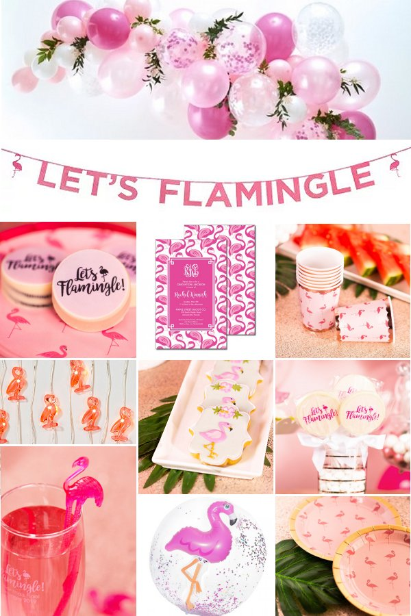 Let's Flamingle Bachelorette Themed Party Supplies and Favors _ WeddingConnexion.com