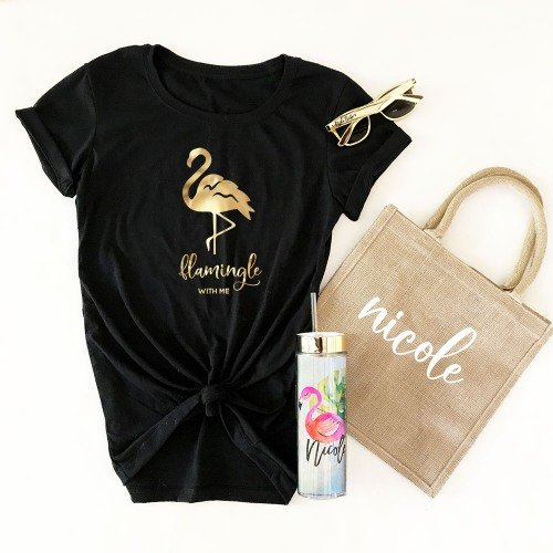 Let'S Flamingle Bachelorette Party Personalized Fitted Tropical T-Shirt