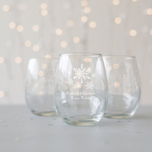 Personalized Snow Flurry Stemless Wine Glass Favors