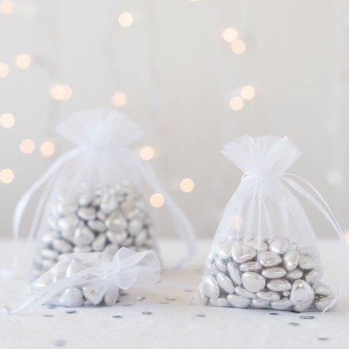 Winter Wedding Silver Organza Favor Bags