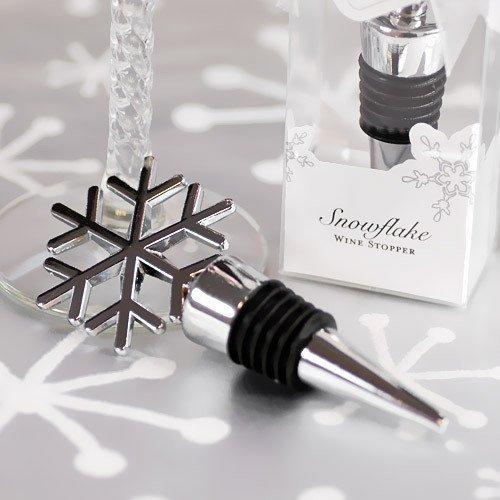 Silver Snowflake Wine Bottle Stopper Favors