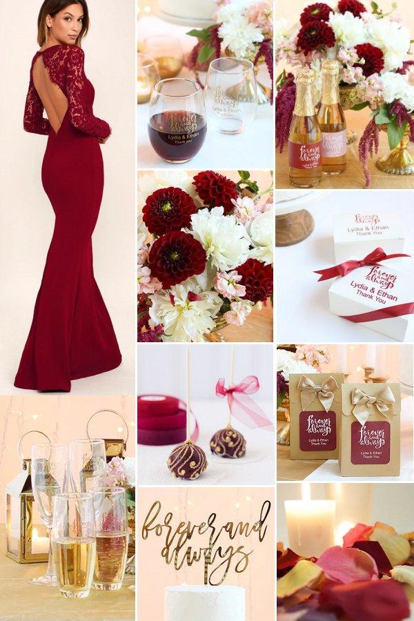 Burgundy And Gold Fall Wedding Theme Ideas Elegant Wedding Ideas