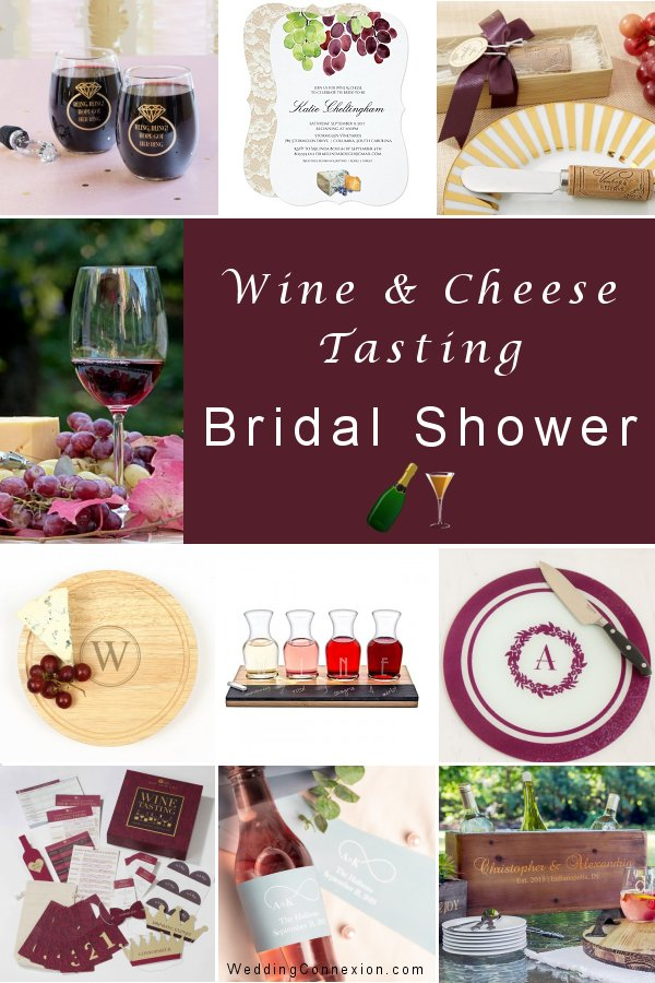 Get inspired with fun ideas to organize a successful wine and cheese tasting bridal shower - Visit us to learn how and for delightful table decor ideas and favors for your guests - WeddingConnexion.com