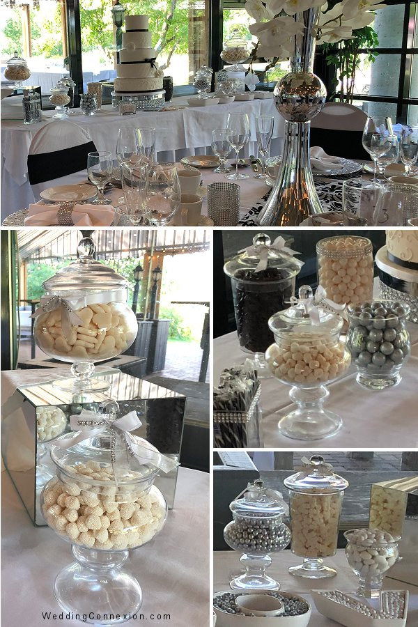 White, Silver and Black Wedding Candy Bar