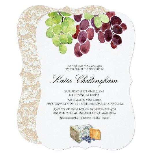 Wine & Cheese Bridal Shower Invitation