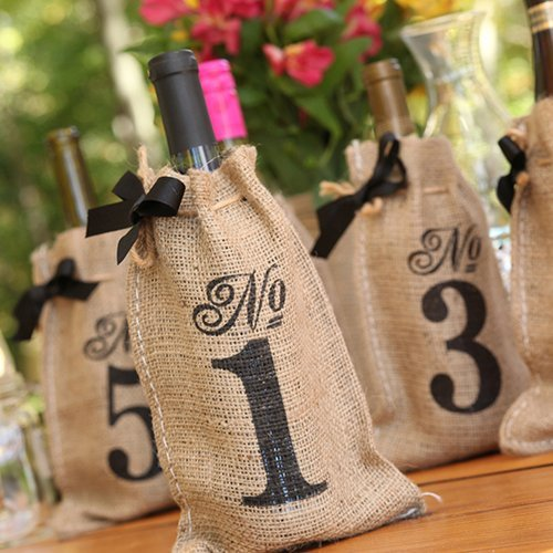 Burlap Wine Bags With Numbers