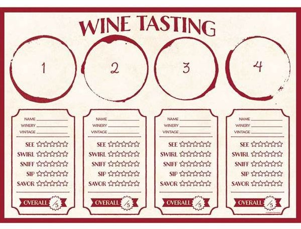 Wine Flight Tasting Placemats