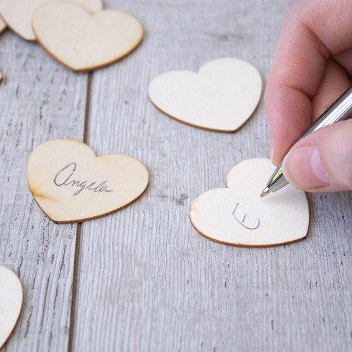 Wooden Signing Hearts