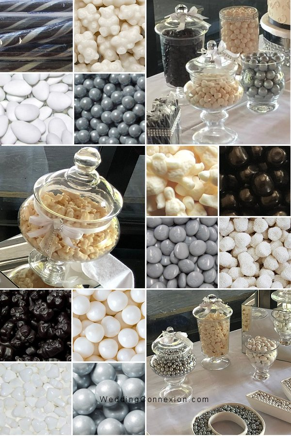 White, silver and black candy bar ideas