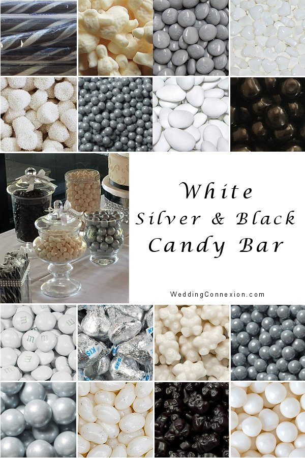 White, silver and black candy bar for Myriam and stephane wedding reception