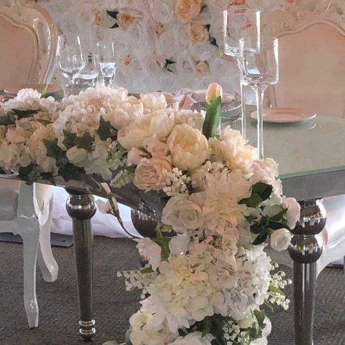 White, Silver & Black Reception Bridal Table Decor