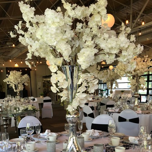 Elegant White Silver and Black Wedding