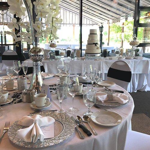 White, Silver & Black Wedding Reception Decor