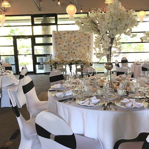 White Silver Black Wedding Reception Bridal Table Decor
