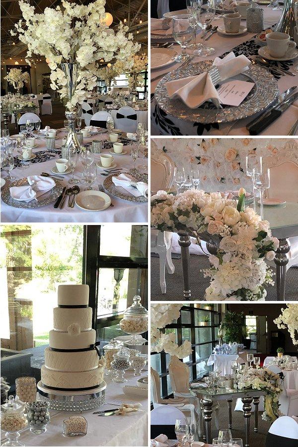 White, silver and black wedding reception venue