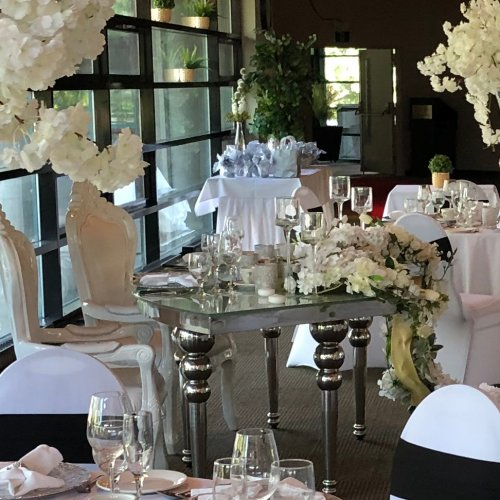 White, Silver & Black Reception Bridal Table
