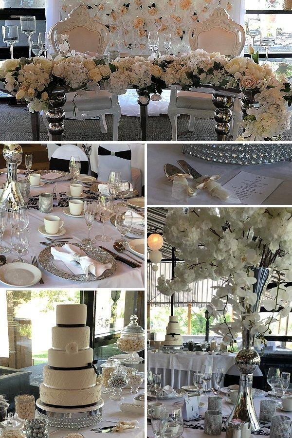 Elegant white, silver and black color scheme wedding reception decor - WeddingConnexion.com