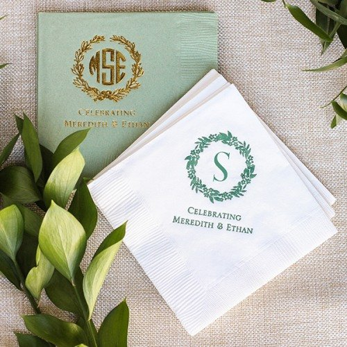 Personalized Wreath Paper Napkins Wedding Table Decor Idea.