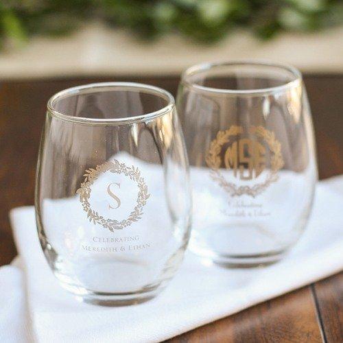 Personalized Wreath Stemless Wine Glasses Table Decor Idea
