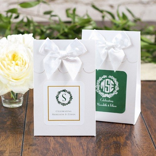 Forest Green And Gold Rustic Wreath Themed Favor Bags