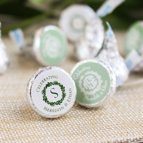 Wreath Themed Personalized Hershey's Kisses Chocolate Favors