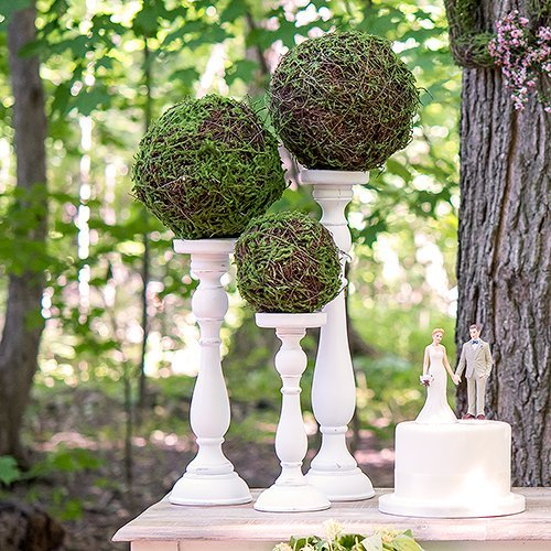 Spindle Candle Holder Set With Moss And Wicker Pomander Rustic Wedding Decor Idea