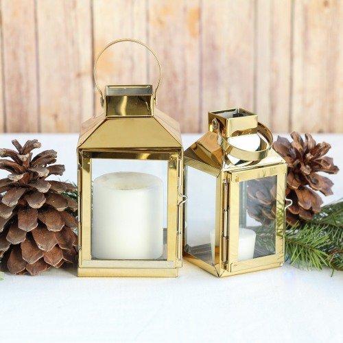 Rustic Gold Decorative Candle Lanterns Wedding Decor Idea